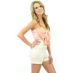 ivory lace sailor button shorts high waist