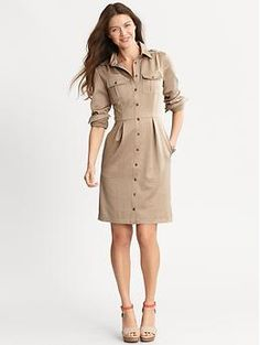 safari dress--have one that's a-line and sleeveless--alter to narrow the skirt and add buttoned cap sleeves?