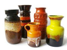 Vintage ceramic vases set of 5 pieces West German by VintageBreda