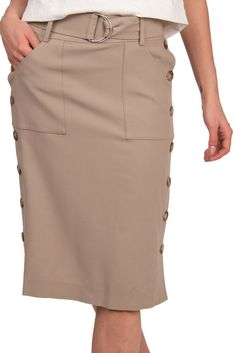5412e6834f RRP 895 MICHAEL KORS COLLECTION Wool Blend Straight Skirt Size 2 / XS  Belted #fashion