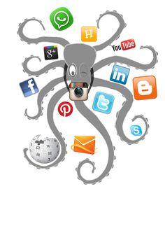 De social media octopus van het boekje 'Omarm de Octopus' social media voor de financiele dienstverlener