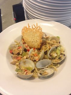 Littleneck clams with linguine tossed in a white clam sauce