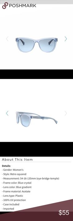 RALPH LAUREN WOMENS RETRO SQUARED SUNGLASSES Beautiful and trendy! NWT! Color: blue crystal/ lens color: blue gradient/ frame material: acetate/ lens type: plastic/ 100% UV Protection/ case included/ 01722219990 Ralph Lauren Accessories Sunglasses