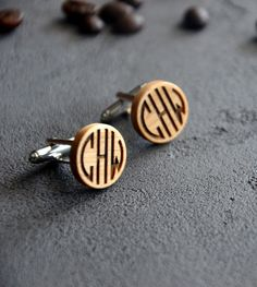 Personalized Monogram Gift Wooden Cufflinks Engraved Custom Cuff links Business Man Gift for Guy Jewelry for Men Christmas gift for Boss