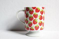 vintage strawberry mug / coffee tea cup ceramic by wearvintology