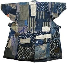 Boro Cotton Kimono, Yamagata Prefecture (Northern Japan) c. 1900.  Never-give-up patchwork.