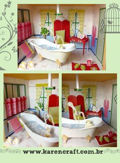 Papercraft house - Bathroom | Karencraft