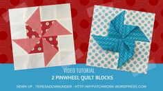 These two blocks look very much the same but one of them is a block. How to make 2 paper pinwheel quilt blocks Learn to make this block in over 3 minutes: If you enjoy my videos and tutorials yo… Pinwheel Tutorial, Pinwheel Quilt Pattern, Quilt Patterns, Blanket Patterns, Block Patterns, Quilt Blocks Easy, Easy Quilts, Quilting Tutorials, Quilting Projects