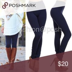 """Navy high waisted fleece lined leggings soft OS 🚩ONE SIZE High waist FLEECE LINNED Tummy tuck control leggings. 🔆Stretch to fit (Plenty of stretch). 🔆Thick not see through. 🔆5"""" wide High waisted band to contour and shape; smoothes out any bulging around waist.Perfect fit, solid, basic essential leggings. 💫 Polyester, spandex blend. 🔆Black, burgundy, charcoal gray, navy blue, olive, dark brown, sand, and mustard available as well. 🚩TAG  SAYS OS(one size fits most), best fits…"""