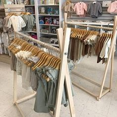 Clothing Rack Nursery Decor Dress Up Station Kids Clothing Storage FOLDS UP 4026 in Tall Wooden Clothes Rack with Canvas Storage Shelf Boutique Interior, Clothing Store Interior, Clothing Store Displays, Clothing Store Design, Boutique Decor, Baby Boutique, Kids Clothes Storage, Dress Up Storage, Kids Clothing Rack