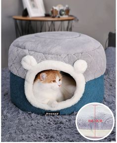 Covered Cat Bed Fluffy Indoor Round Anti-Skid Padded Warm Cozy Two-Way Use Beds for Small Dogs Kitten Puppy