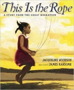 Wow!  We were lucky enough to meet Jacqueline Woodson at NCTE 2013 and have sign her newest book  - This is the Rope – A Story from the Great Migration.  This is the Rope  is a fictional tale about a family passing a piece of rope down through three generations.  The rope begins as a skipping rope for one young girl and then  becomes the rope for tying suitcases onto the car as the family leaves South Carolina and moves to New York City.