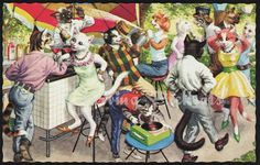 Alfred Mainzer Cats Garden Party Bar & Dancing Postcard by StarvingPackrats, $6.99 #HousewarmingGifts #BirthdayPresent #GiftsForCatLovers