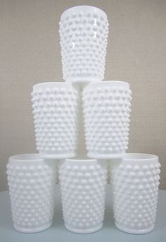 Vintage Fenton Milk Glass Tumblers, Hobnail Pattern, 5 ounce, Set of 6, 1950's or '60's