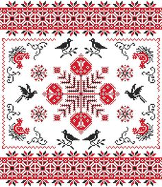 BIRDS - Flower Cross Stitch Pattern Red and Black Sampler Blackbirds Chickens PDF Instant Download