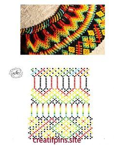 Diy Necklace Patterns, Bead Loom Patterns, Beaded Jewelry Patterns, Beading Patterns, Beaded Crafts, Beaded Collar, Bead Jewellery, Stitching Leather, Bead Crochet