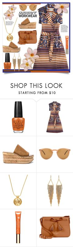 """""""Summer Work Wear"""" by helenaymangual ❤ liked on Polyvore featuring OPI, Kenzo, Chloé, Oliver Peoples, House of Harlow 1960, Carolee, Clarins and Kate Spade"""