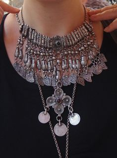 An Armenian Ottoman-era kirdan necklace from Van, Turkey in silver and glass stones.  Modeled and posted by Betty on Ethnic Jewels.