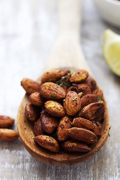 Chili Lime Almonds: Crunchy pan-toasted almonds with hints of spicy chili and zesty lime - these are positively addictive! So quick, easy, and healthy too!                                                                                                                                                      More