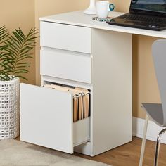 Meja Kerja Kayu Carl 3 Drawer a Open Shelving, Shelves, Study Table And Chair, Grey Desk, Writing Desk, Simple Living, Wood Design, Filing Cabinet, Drawers