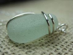 wire wrapped sea glass necklace, sterling wire wrapped jewelry, large aqua beach seaglass pendant, SeaglassWithATWist by SeaglassWithATwist on Etsy