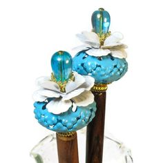 NEW! Hair Sticks, Flower Hair Accessories, Hair Chopsticks, Turquoise
