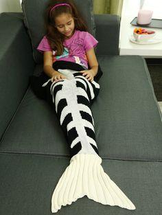Comfortable Fishbone Knitted Sofa Wrap Kids Mermaid Blanket in White And Black   Sammydress.com