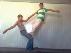 2 Person Simple Stunts | Cousins doing pairs acro.