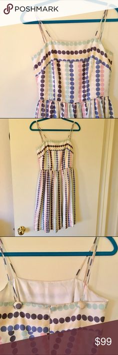 """Girls From Savoy """"Cooling Palette"""" polka dot dress *AS SEEN ON GLEE!* this unique and gorgeous dress combines a classic cut with a fun and flirty pattern. multi color polkadots make this dress perfect for every occasion! the straps can be adjustable by cross crossing or wearing straight simply by unhooking from the button! 32.5"""" length from neckline, 13"""" waist, 16"""" bust. *dress will need to be dry cleaned upon receiving* Anthropologie Dresses Mini"""