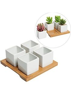 4 Piece Modern White Mini Square Cube Ceramic Succulent Planters / Flower Pots w/ Bamboo Tray - MyGift® ❤ MyGift