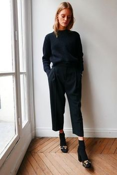 Black culottes outfit with short boots