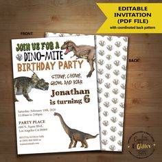 Dinosaur Birthday Invitation Dino Party Invite Instant Download Editable Text Printable 5154 By Confettinglitter On