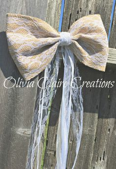 Burlap Pew Bow, Ceremony Bow or Church Pew Decor for Country Chic, Rustic or BoHo Wedding, Barn Decor, Vintage Burlap or Outdoor Decor.