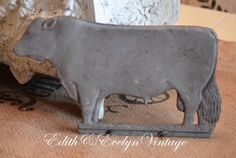 Vintage French Butcher Shop Salvage Cow  Sign by edithandevelyn, $95.00