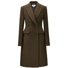 Carine Wool Blend Coat ($185) ❤ liked on Polyvore featuring outerwear, coats, double breasted coat, uniqlo coats, uniqlo, wool blend coat and fancy coats
