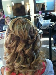waterfall braid in curled hair - probably wouldn't work well in my hair, but soooo pretty!