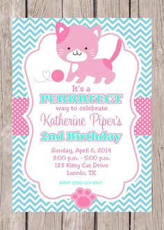 Pink kitty cat birthday invitation mint green by digitaldrivein printable personalized kitty invitation pink and by ciaobambino 1200 kitten birthday partieskitten filmwisefo Image collections