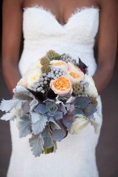 Ashley Gain Weddings Montelucia Resort Scottsdale Arizona Succulent wedding bouquet, garden roses, grey berries, lambs ear.
