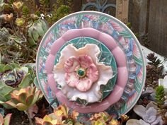 Plate Flowers. #367  Drought Resistant.        Garden Yard Art glass and ceramic plate flower