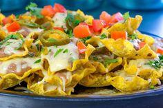 Jen's Loaded Nachos 5 Star Recipe, Refried Beans, Nachos, Cilantro, Sour Cream, Zucchini, Carrots, Ethnic Recipes, Dips