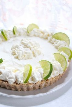 No Bake Key Lime Pie Ingredients: 8 oz cream cheese, 1/3 less fat 1 cup heavy cream 3/4 cup confectioner's sugar Juice of 3 limes Crust: 1 1/2 cup oats 1 1/2 honey nut cheerios (I used multigrain cheerios from TJoes) 1 stick butter, melted In a food processor pulverize the oats and cheerios. Transfer to a 9 inch tart pan with removable bottom and add the melted butter. Combine and press down onto the base and sides of the cake pan.You can also use a sprinform pan or a ch… : FoodPicsTime.com