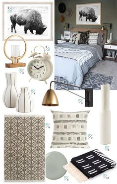 As promised, links to everything in yesterday's Woodsy Bedroom Makeover! A few items are vintage, but if you have any questions let me know in the comment below. Woot! 1. Minted Buffalo Art 2. Newgate