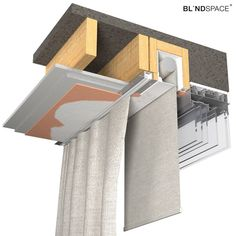 Blindspace box with no skim coat flanges installed with the blind towards the wi Detail Architecture, Interior Architecture, Window Coverings, Window Treatments, Skylight Blinds, Skylights, Curtain Box, Curtains With Blinds, Gypsy Curtains