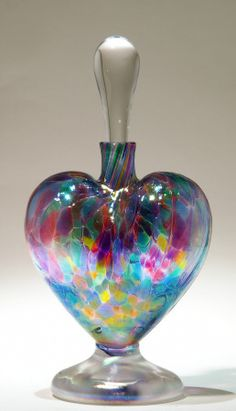 Heart-shaped, art glass, perfume bottle by Bryce Dimitrik.