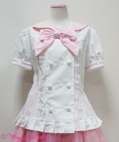 Angelic Pretty Double Button Sailor Blouse in all colors (except white x white and black x black)