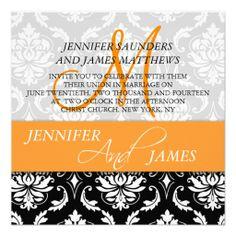 Orange Black White Damask Wedding Invitations