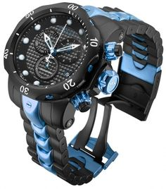 Beautiful watch with carbon fiber face and the blue goes great.......