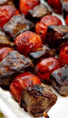 Balsamic-Glazed Beef Skewers Balsamic Steak Skewers From: Taste Of Home, please visit More from my siteSteak and Potato Kebabs Steak and Potato Kebabs Recipe of the Day: Steak and Potato Kebabs Steak Skewers, Beef Kabobs, Kebabs, Vegetable Skewers, Fajita Vegetables, Italian Beef Recipes, Lamb Recipes, Yummy Recipes, Dinner Recipes