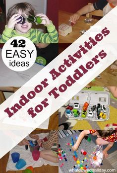 Easy indoor activities for toddlers which don't require a lot of set up. Parents can use these ideas to keep toddlers busy at home.