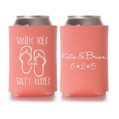 Personalized Sandy Toes and Salty Kisses Beach Wedding Koozies, Bridal Event Favors, Custom Can Cooler Coozies by yourethatgirldesigns on Etsy https://www.etsy.com/listing/219614892/personalized-sandy-toes-and-salty-kisses